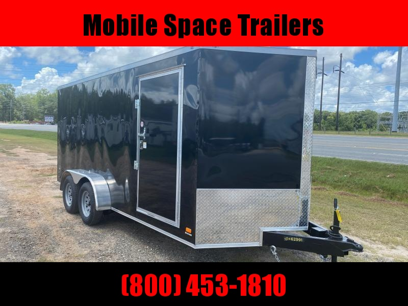 Trailer 7x16 6'6 Black W Ramp Door Enclosed Cargo screwlessTrailer