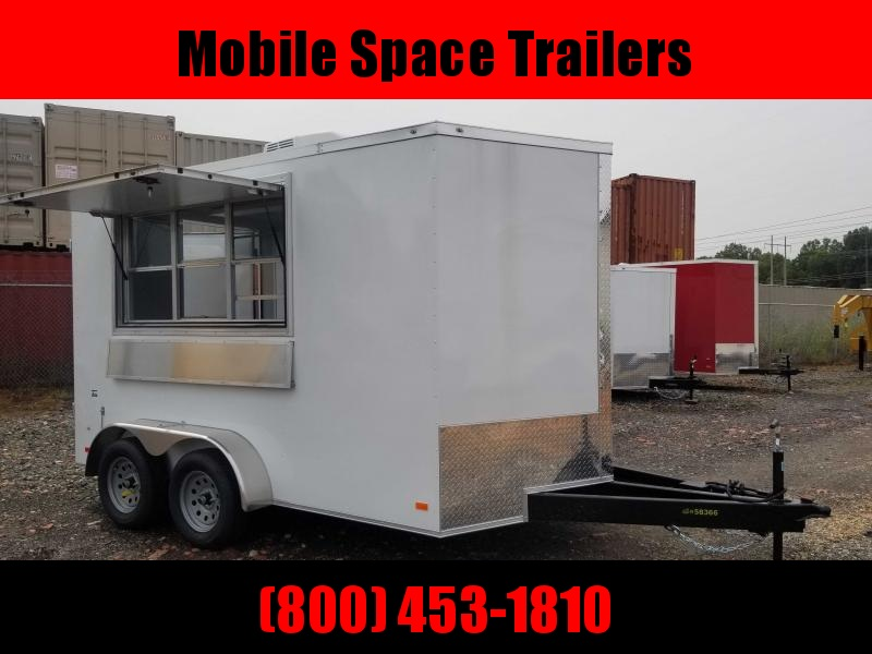 Covered Wagon Trailers 7x12 TA 7' 3x6 Window White w Vending Enclosed Cargo Concesion