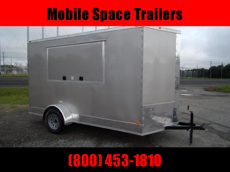 6x12 3x6 Window Pewter Enclosed Cargo Concesion