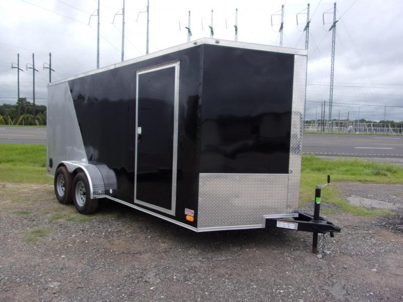 Trailer 7x16 6 3 Black & Silver Two-Tone W Ramp Door Enclosed Cargo screwlessTrailer