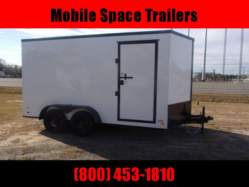 Covered Wagon Trailers 7X14 7k White Blackout Tandem Ramp Door Enclosed Cargo Trailer