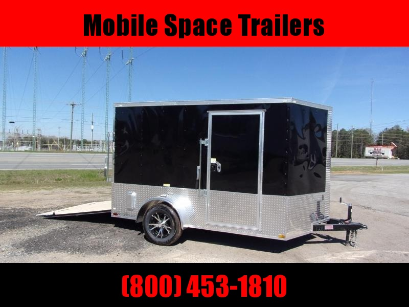 7x10 MCP ramp door Black Enclosed Cargo Trailer