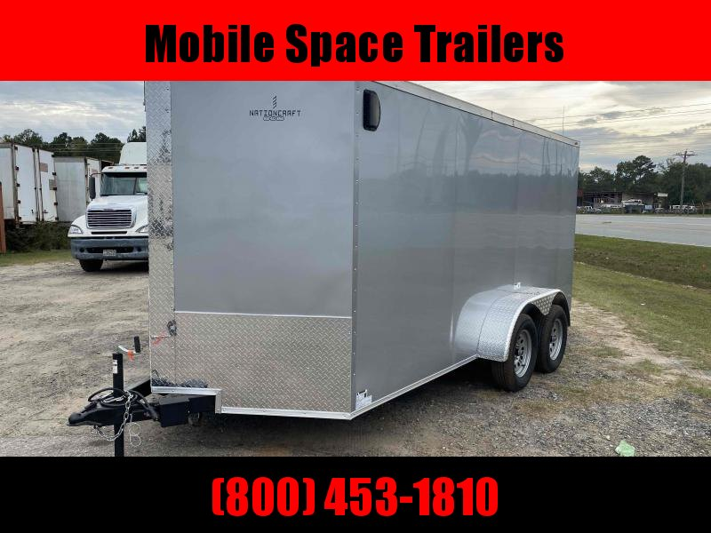 "Nationcraft 7x14 6'3"" Silver Ramp Door Enclosed Cargo Screwless Trailer"