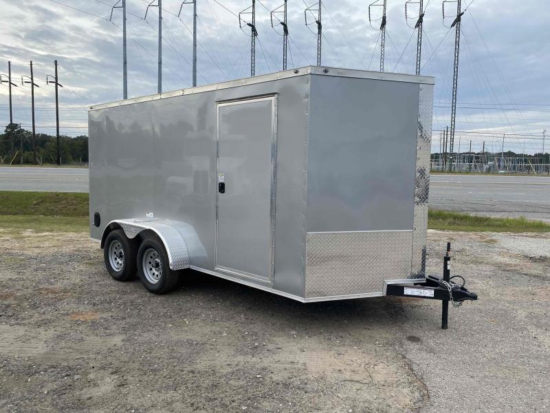 "Nationcraft 7x14 6'3"" Silver Ramp Door Enclosed Cargo Screwless Trailer"