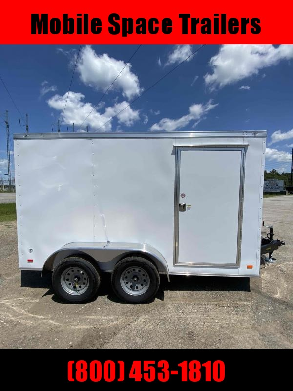 Covered Wagon 7x12 White Gold Series enclosed cargo tailer