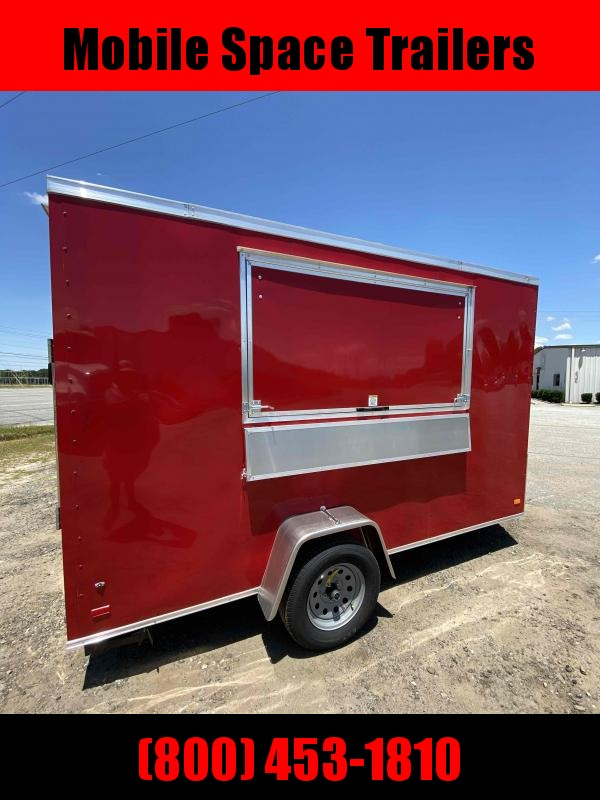Covered Wagon RED Enclosed Cargo Concesion 6x12 7' 3x6 Window