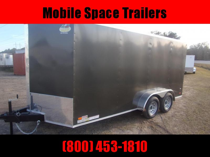Covered Wagon Trailer 7x16 7 ' Charcoal W/ Ramp Door Enclosed Cargo