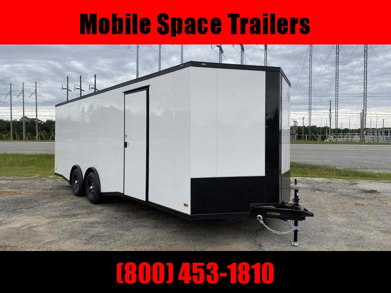 Covered Wagon Trailers 8 5x24 WHITE Spread axles ramp door Enclosed Cargo
