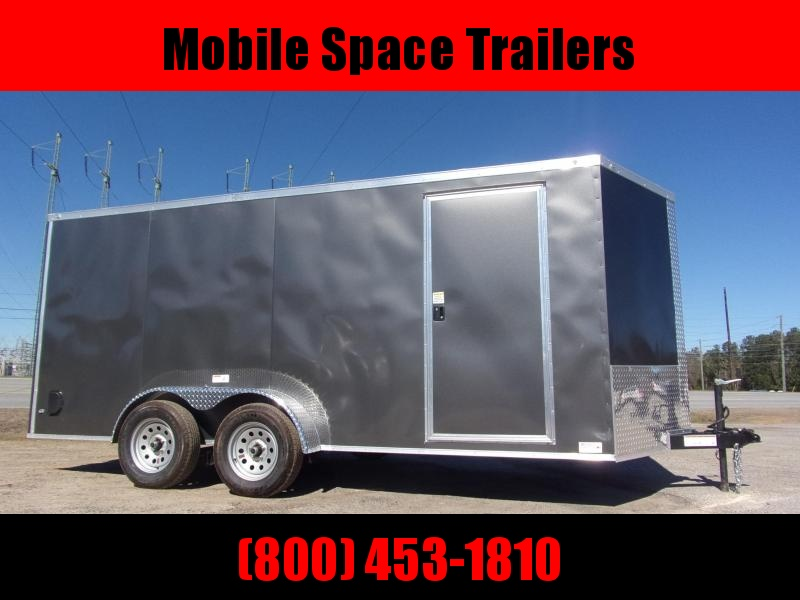 "Trailer 7x16 7'6"" Charcoal W Ramp Door Enclosed Cargo screwlessTrailer"