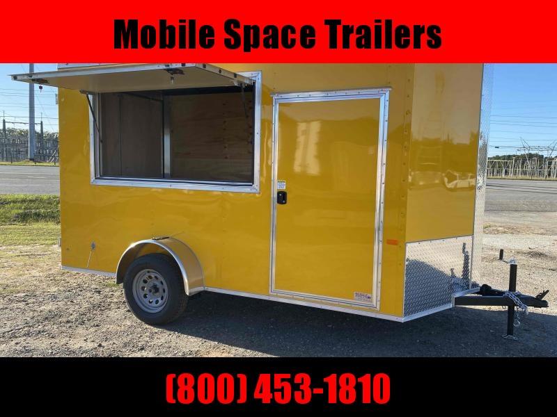 6x12 7' 3x6 Window Yellow Enclosed Cargo Concesion
