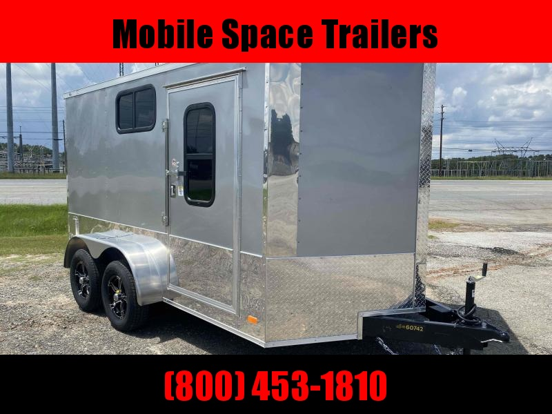 2020 Covered Wagon Trailer 7x12 Silver Motorcycle PKG w/ Windows Enclosed Cargo Trailer