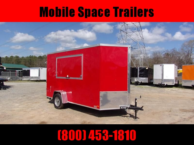 Covered Wagon Trailers 6x12 7' 3x6 Window  Red vending Enclosed Cargo Concesion