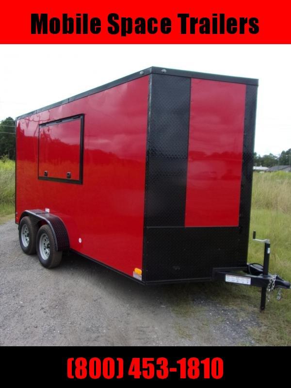 7X14 Red & Black 7' Interior w/ 3x6 Window Vending / Concession Trailer