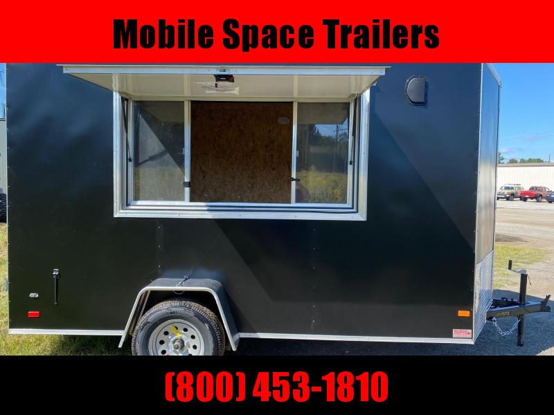 Covered Wagon Trailers 6x12 7' 3x6 Glass & Screen Window Black vending Enclosed Cargo Concesion
