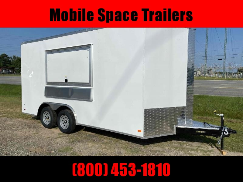 8 5x16 enclosed cargo 3x6 glass and sceen Concession Vending Concession Trailer