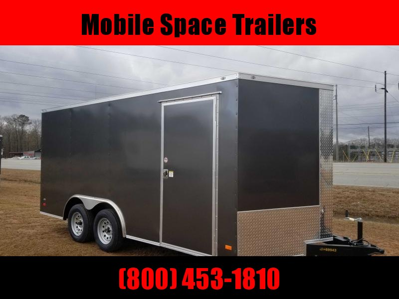 "1st Place Cargo 8.5x16 6'6"" Interior ramp door charcoal Enclosed Cargo Trailer"