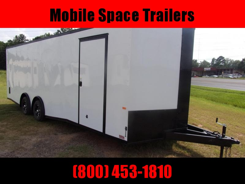 8.5x24  7' White Blackout Spread axles ramp door Enclosed Cargo