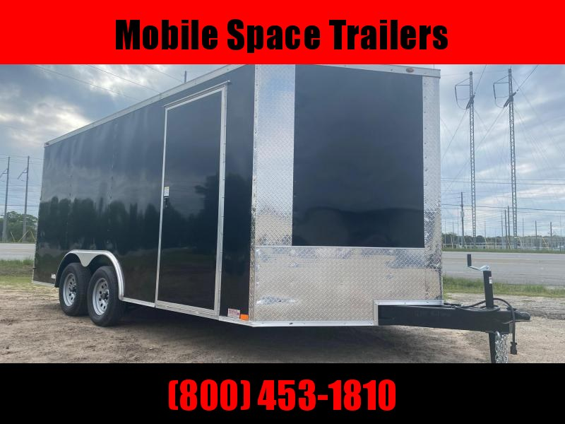 """1st Place Cargo 8.5x16 6'6"""" Interior ramp door BLACK Enclosed Cargo Trailer"""