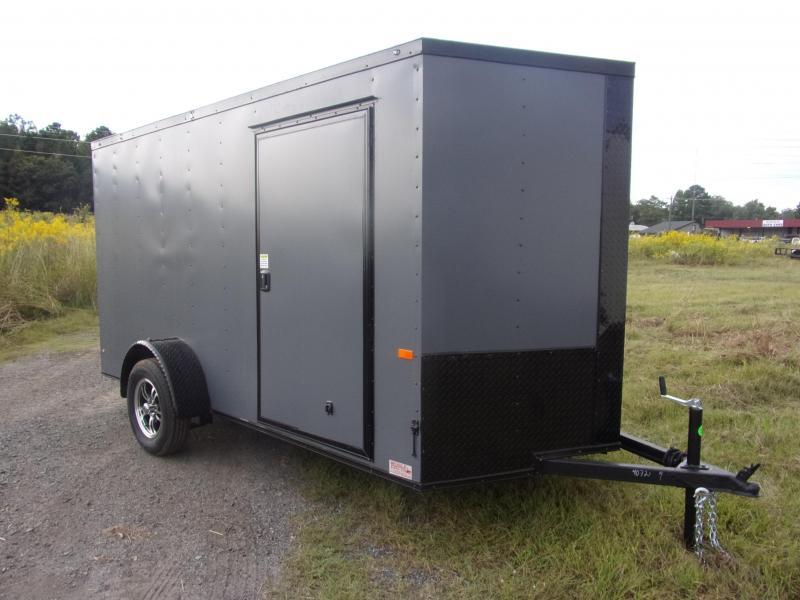 6x12 Charcoal Blackout Ramp Door & D-Rings Enclosed Cargo Trailer