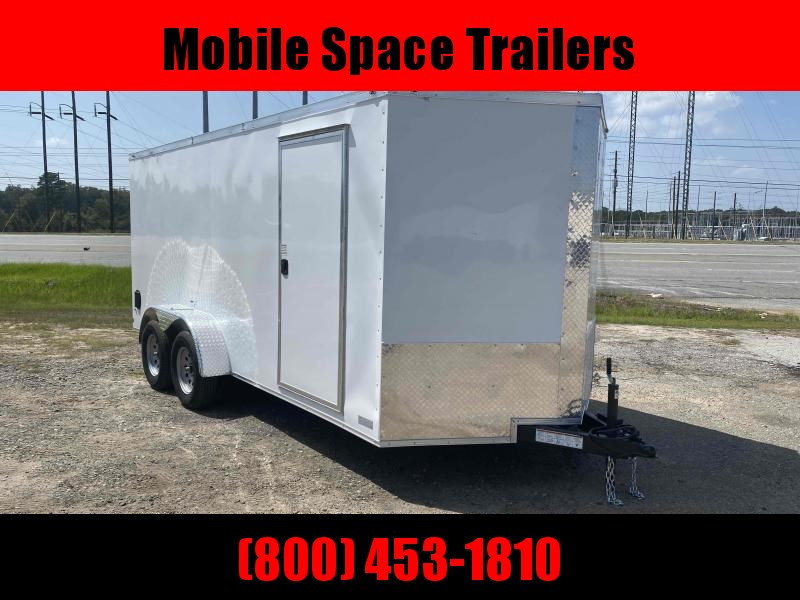 Trailer 7x16 6 3 white W Ramp Door Enclosed Cargo screwlessTrailer