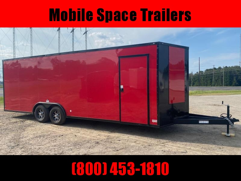 8.5x24 10k Red Blackout Carhauler w/ ramp door Enclosed Cargo