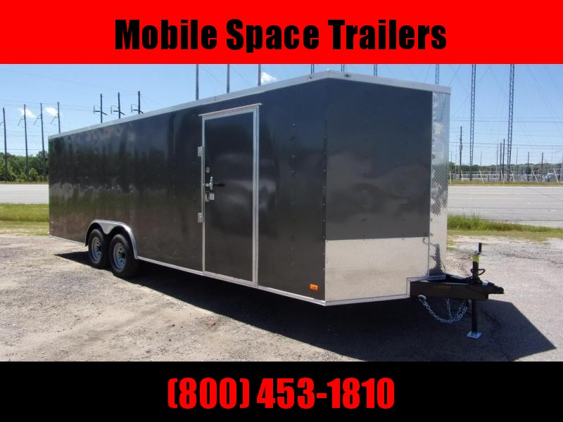 Covered Wagon Trailers 8.5x24 Charcoal ramp door Enclosed Cargo