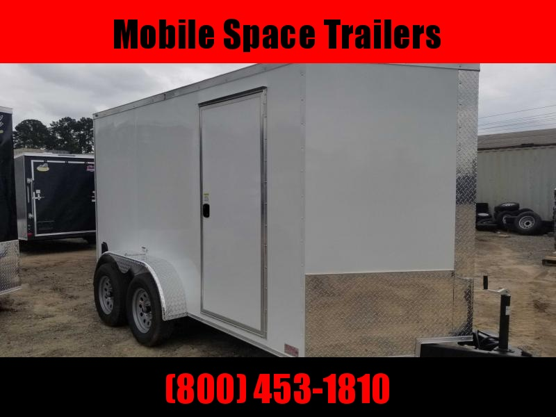 7x12 WHITE Enclosed cargo tailer