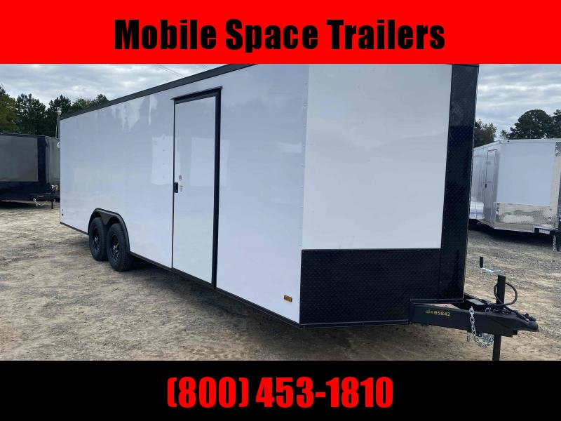 Car Hauler Trailer 8.5X24 Enclosed Cargo Trailer white w bk out pkg