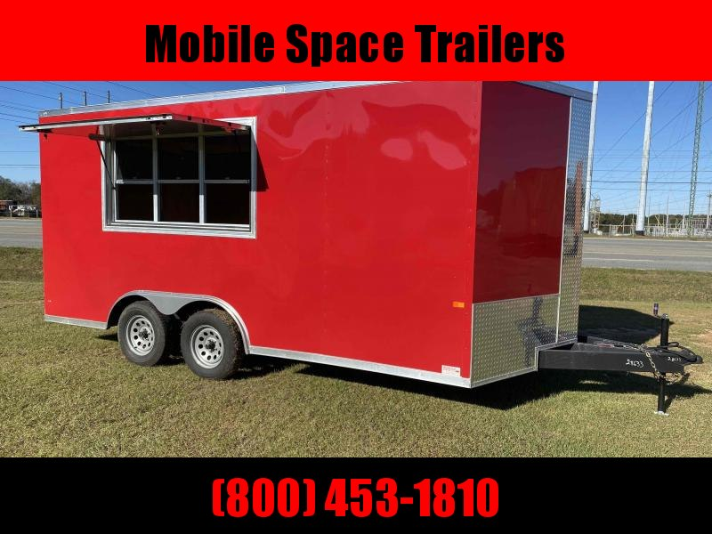 8.5x16 Red 7' Interior Vending / Concession Trailer