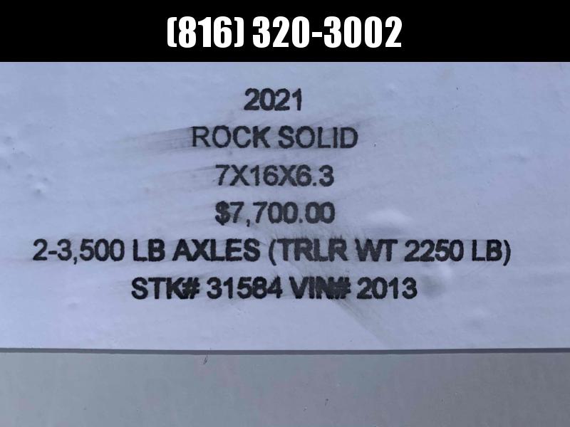 "2021 ROCK SOLID 7 X 16 X 6'3"" ENCLOSED CARGO TRAILER W/ BLACK TRIM PACKAGE"