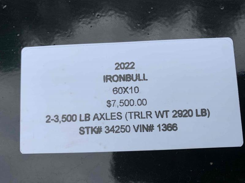 2022 IRON BULL 60X10 MINI DUMP TRAILER