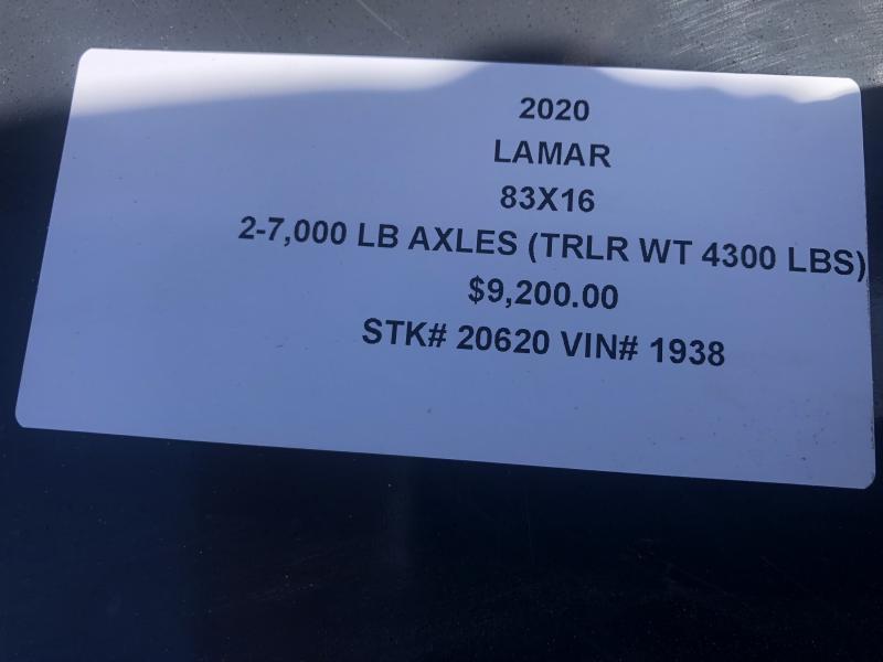 2020 LAMAR 83X16 DUMP LOPRO TRAILER W/ 14 PLY TIRES