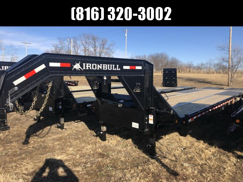 2021 IRON BULL 102X32 GOOSENECK LOPRO DECK OVER FLAT BED TRAILER W/ 12K AXLES