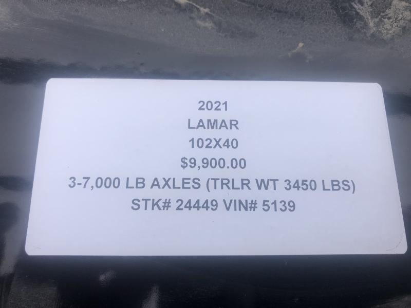 2021 LAMAR 102X40 GOOSENECK TRIPLE AXLE EQUIPMENT TRAILER W/ DRIVE OVER FENDERS