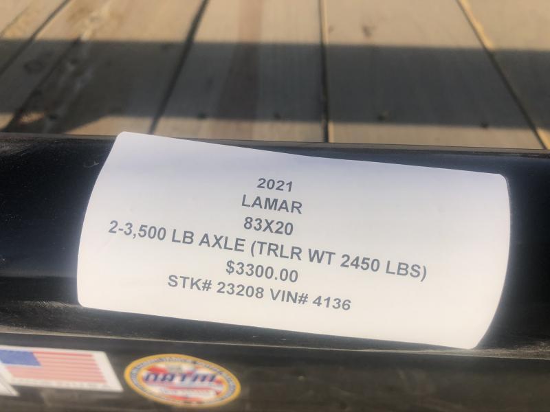 2021 LAMAR 83X20 EQUIPMENT HAULER TRAILER W/ 2' DOVE TAIL