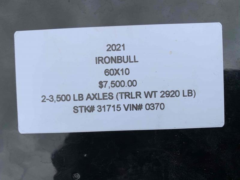 2021 IRON BULL 60X10 MINI DUMP TRAILER