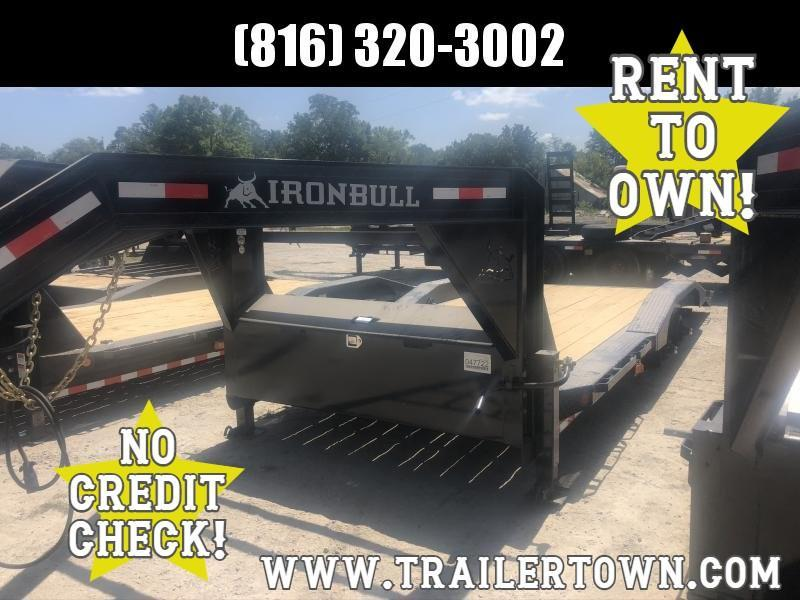 2021 IRON BULL 102 X 20 GOOSENECK EQUIPMENT TRAILER W/ DRIVE OVER FENDERS