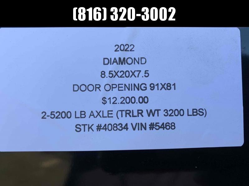 2022 DIAMOND 8.5 X 20 X 7.5 ENCLOSED CARGO TRAILER