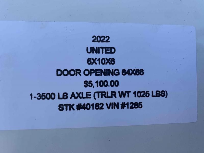 2022 UNITED 6x10x6 ENCLOSED CARGO TRAILER