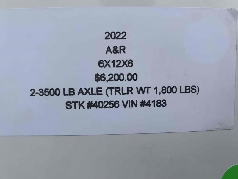 2022 A&R 6x12x6 ENCLOSED CARGO TRAILER