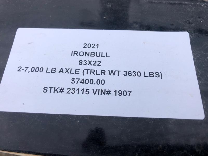 2021 IRON BULL 83X22 TILT LOPRO EQUIPMENT HAULER TRAILER