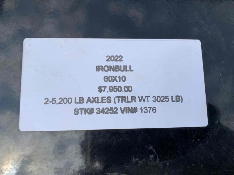 2022 IRON BULL 60X10 MINI DUMP TRAILER W/ 52K AXLES