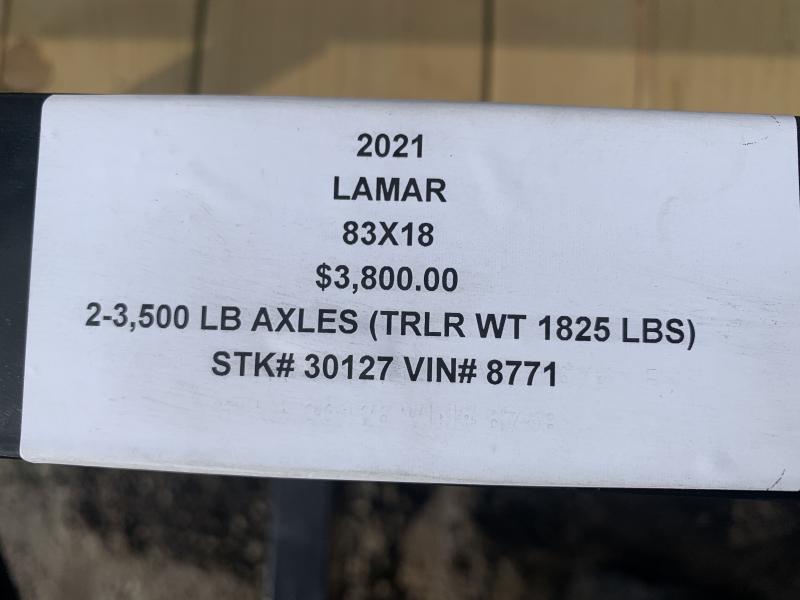 2021 LAMAR 83 x 18 UTILITY TRAILER