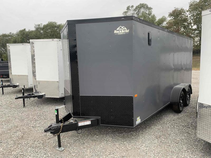 """2022 ROCK SOLID 7 X 16 X 6'3"""" ENCLOSED CARGO TRAILER WITH BLACK TRIM PACKAGE"""
