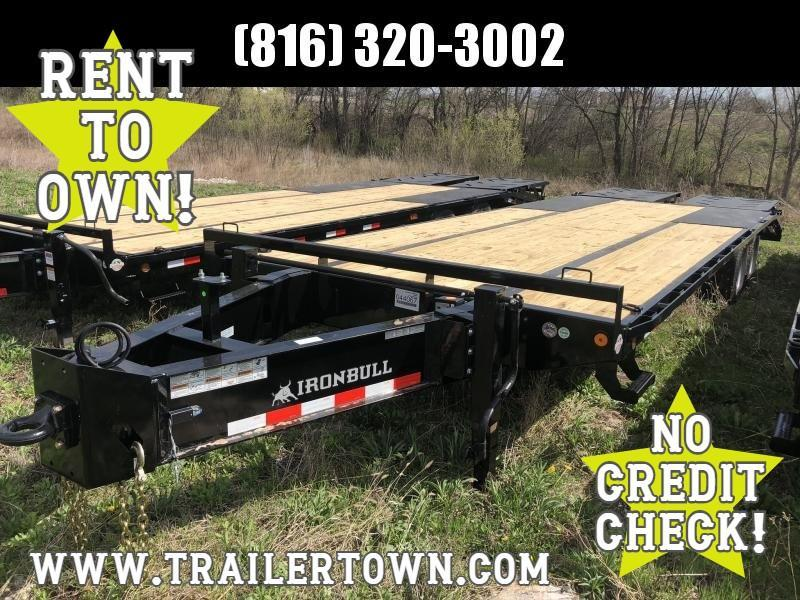 2020 IRON BULL 102X26 DECKOVER PINTLE EQUIPMENT HAULER TRAILER W/12K AXLES