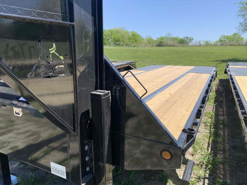2021 IRON BULL 102X32 GOOSENECK LOPRO DECK OVER FLAT BED TRAILER W/ 10K AXLES, HYDRAULIC DOVE TAIL AND JACKS