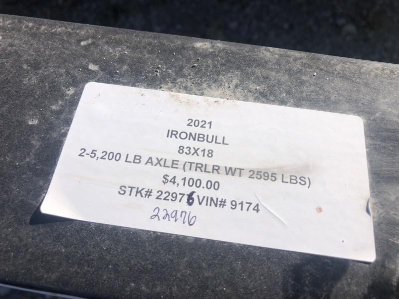 2021 IRON BULL 83X18 EQUIPMENT HAULER TRAILER W/ 2' DOVE TAIL