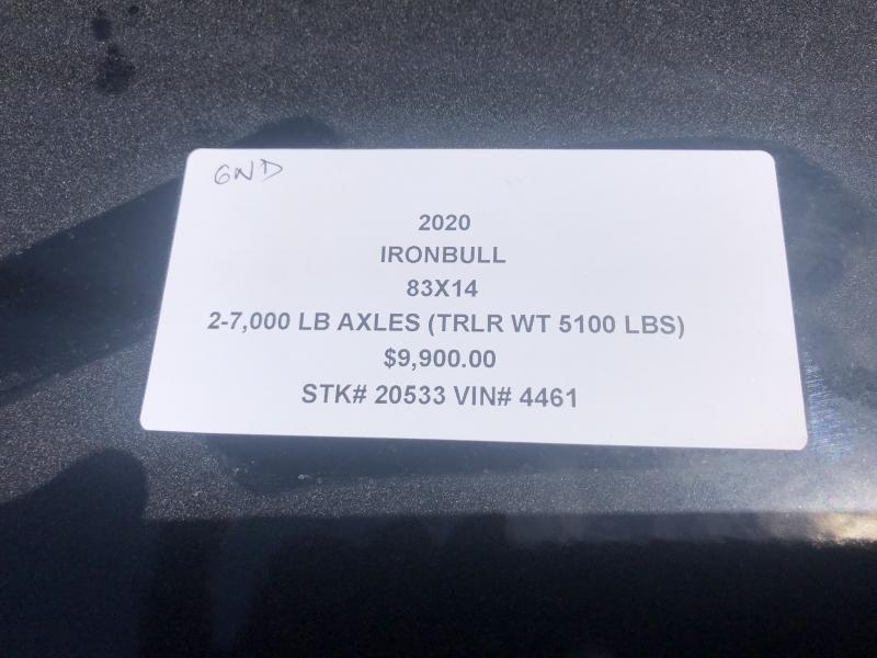 "2020 IRON BULL 83X14 GOOSENECK DUMP TRAILER W/ 48"" SIDES"