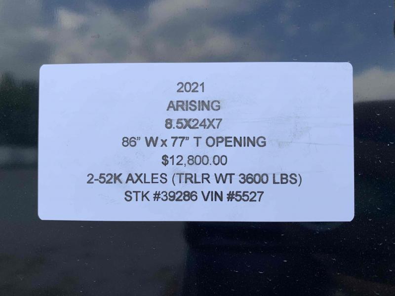 2021 ARISING 8.5 X 24 X 7 ENCLOSED CARGO TRAILER