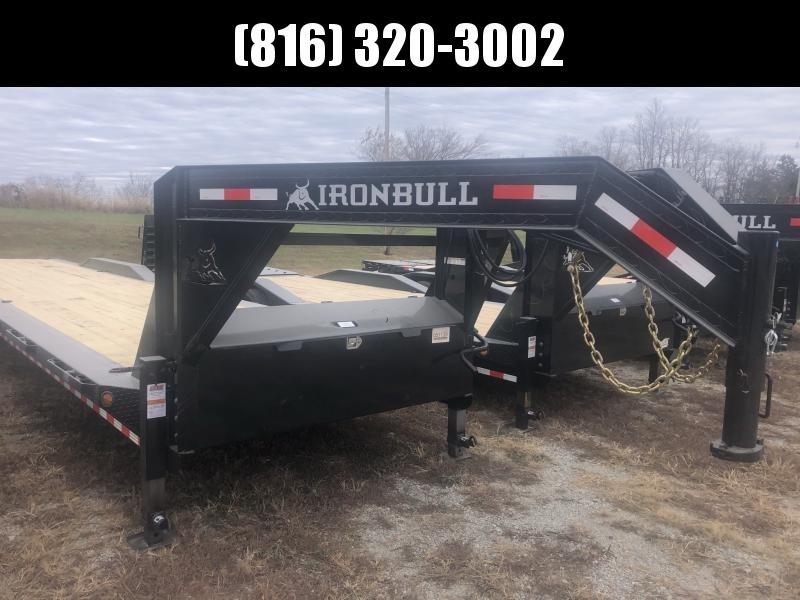 2021 IRON BULL 102 X 44 GOOSENECK TRIPLE AXLE EQUIPMENT TRAILER W/ DRIVE OVER FENDERS